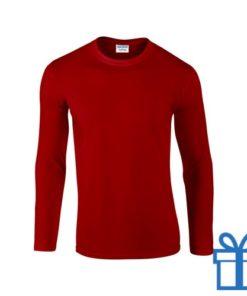 Long sleeve shirt rond S rood bedrukken