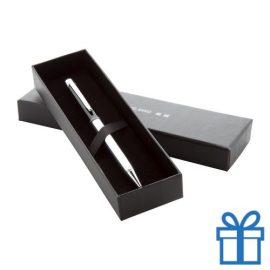 Luxe metalen touchbalpen in giftbox zwart bedrukken