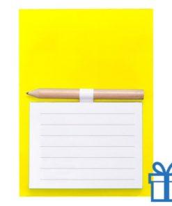 Magnetisch notitieblok koelkastmagneet geel bedrukken