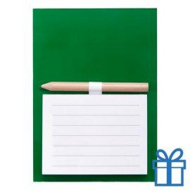 Magnetisch notitieblok koelkastmagneet groen bedrukken