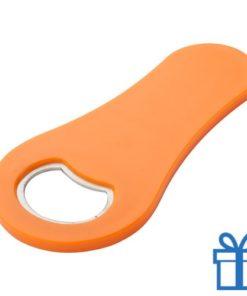 Magnetische flessenopener oranje bedrukken