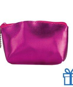 Make-up tasje PVC roze bedrukken