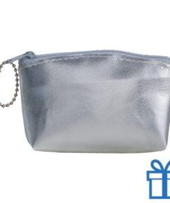 Make-up tasje PVC zilver bedrukken
