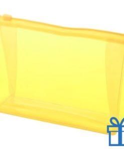 Make-up tasje budget geel bedrukken