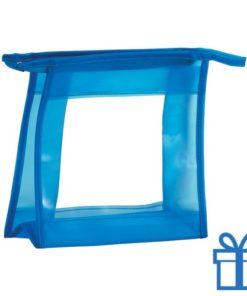 Make-up tasje transparant blauw bedrukken