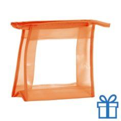 Make-up tasje transparant oranje bedrukken