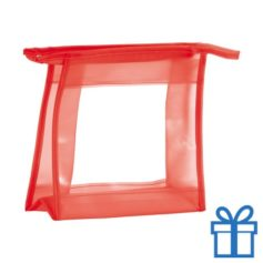 Make-up tasje transparant rood bedrukken