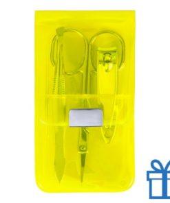 Manicure set 3-delig geel bedrukken