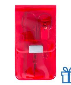 Manicure set 3-delig rood bedrukken