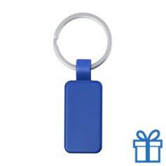 Metalen gekleurde sleutelhanger rechthoek blauw bedrukken