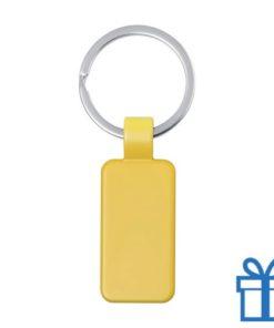 Metalen gekleurde sleutelhanger rechthoek geel bedrukken