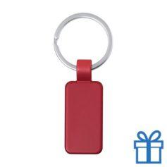 Metalen gekleurde sleutelhanger rechthoek rood bedrukken