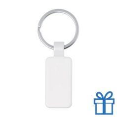 Metalen gekleurde sleutelhanger rechthoek wit bedrukken