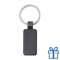 Metalen gekleurde sleutelhanger rechthoek zwart bedrukken