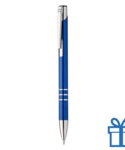 Metalen pen met chromen ringen blauw