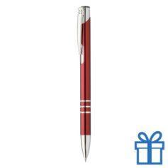 Metalen pen met chromen ringen donker rood