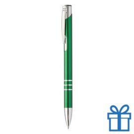 Metalen pen met chromen ringen groen