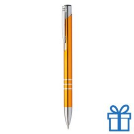Metalen pen met chromen ringen oranje