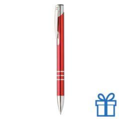 Metalen pen met chromen ringen rood