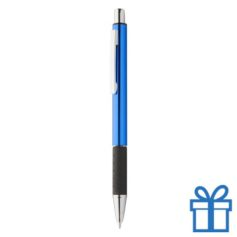 Metalen pen zwarte rubberen grip blauw bedrukken