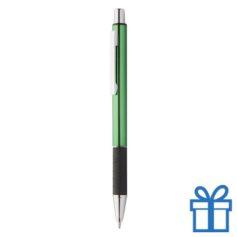 Metalen pen zwarte rubberen grip groen