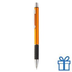 Metalen pen zwarte rubberen grip oranje bedrukken