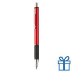 Metalen pen zwarte rubberen grip rood bedrukken