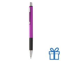 Metalen pen zwarte rubberen grip roze