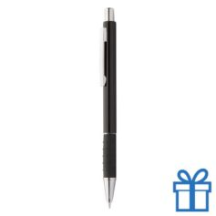 Metalen pen zwarte rubberen grip zwart