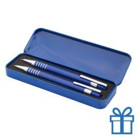 Metalen pennenset vulpotlood blauw