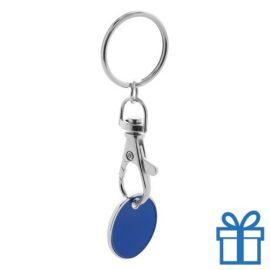 Metalen sleutelhanger winkelwagenmunt blauw bedrukken