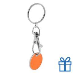 Metalen sleutelhanger winkelwagenmunt oranje bedrukken