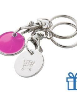 Metalen sleutelhanger winkelwagenmunt roze