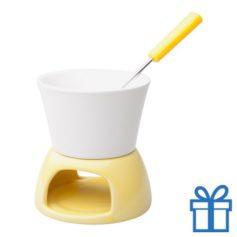 Mini fondueset geel bedrukken