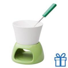 Mini fondueset groen bedrukken