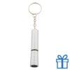Mini zaklamp LED metaal ring zilver bedrukken