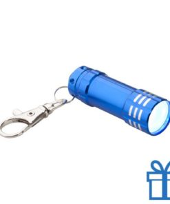 Mini zaklamp aluminium karabijnhaak blauw bedrukken