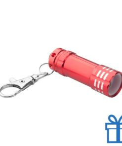 Mini zaklamp aluminium karabijnhaak rood bedrukken
