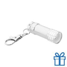 Mini zaklamp aluminium karabijnhaak zilver bedrukken