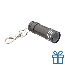 Mini zaklamp aluminium karabijnhaak zwart bedrukken