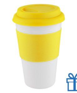 Mok siliconen grip geel bedrukken