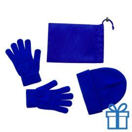 Muts en handschoenen blauw bedrukken