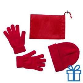 Muts en handschoenen rood bedrukken