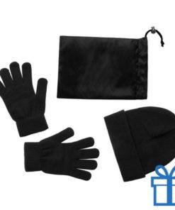 Muts en handschoenen zwart bedrukken