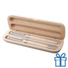 Natuurlijk houten pennenset