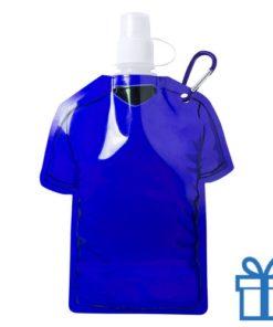 Navulbaar drinkzakje t-shirt vorm blauw bedrukken