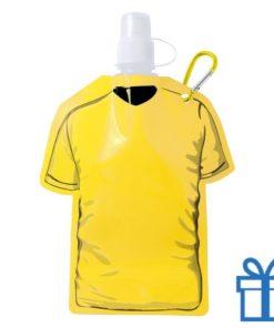 Navulbaar drinkzakje t-shirt vorm geel bedrukken