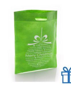 Non woven tas kerstbal groen bedrukken
