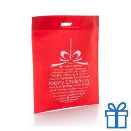 Non woven tas kerstbal rood bedrukken