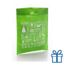 Non woven tas merry christmas groen bedrukken